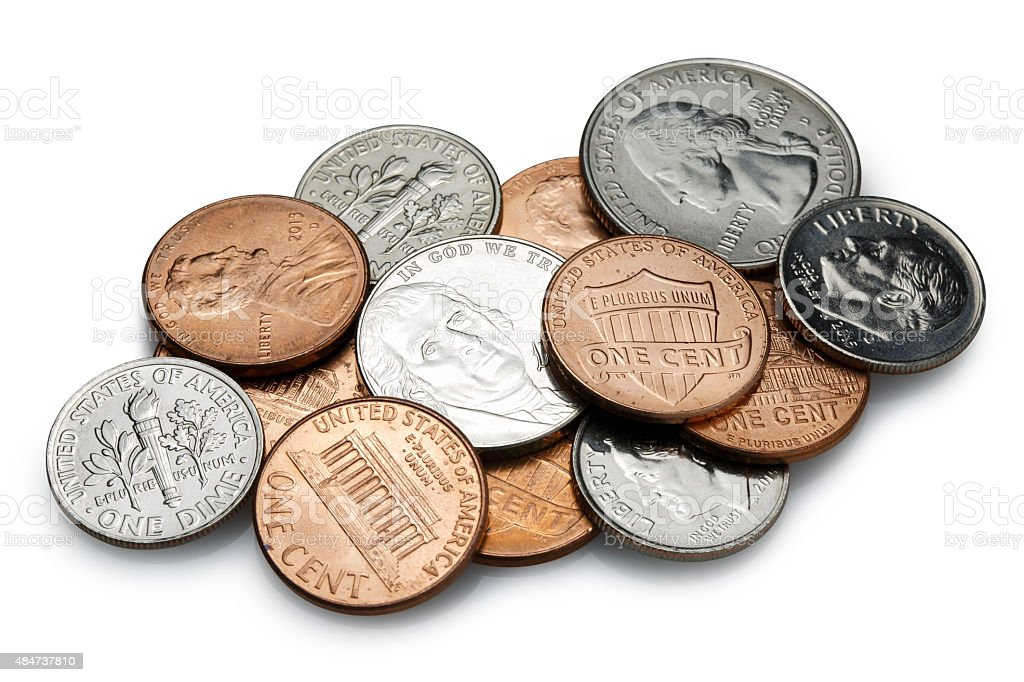 coins on White Background stock photo