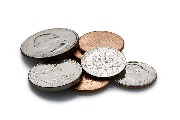 coins on white background - nickel stock photos and pictures
