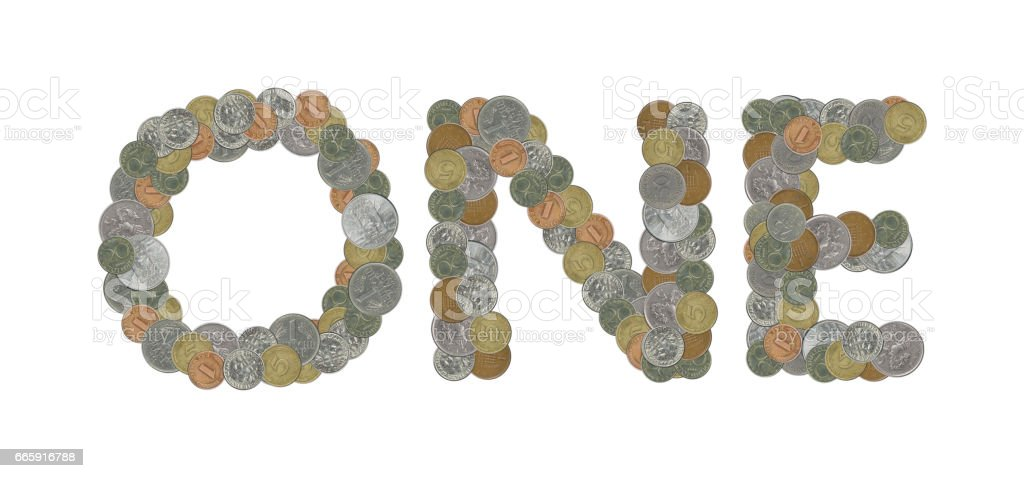 ONE – Coins on white background foto stock royalty-free