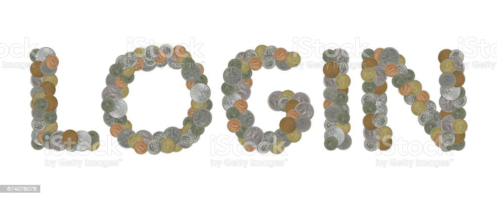 LOGIN – Coins on white background royalty-free stock photo