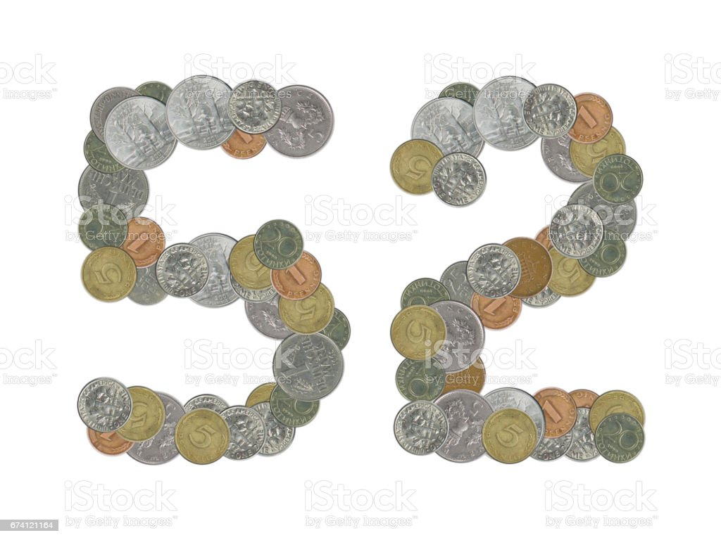 52 – Coins on white background royalty-free stock photo