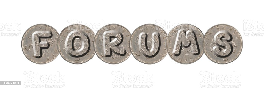 FORUMS – Coins on white background stock photo