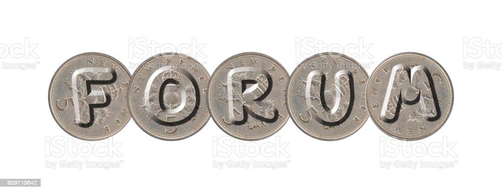 FORUM – Coins on white background stock photo