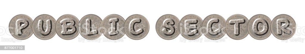 PUBLIC SECTOR – Coins on white background stock photo
