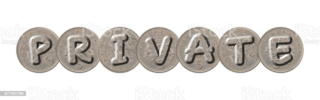 PRIVATE – Coins on white background stock photo