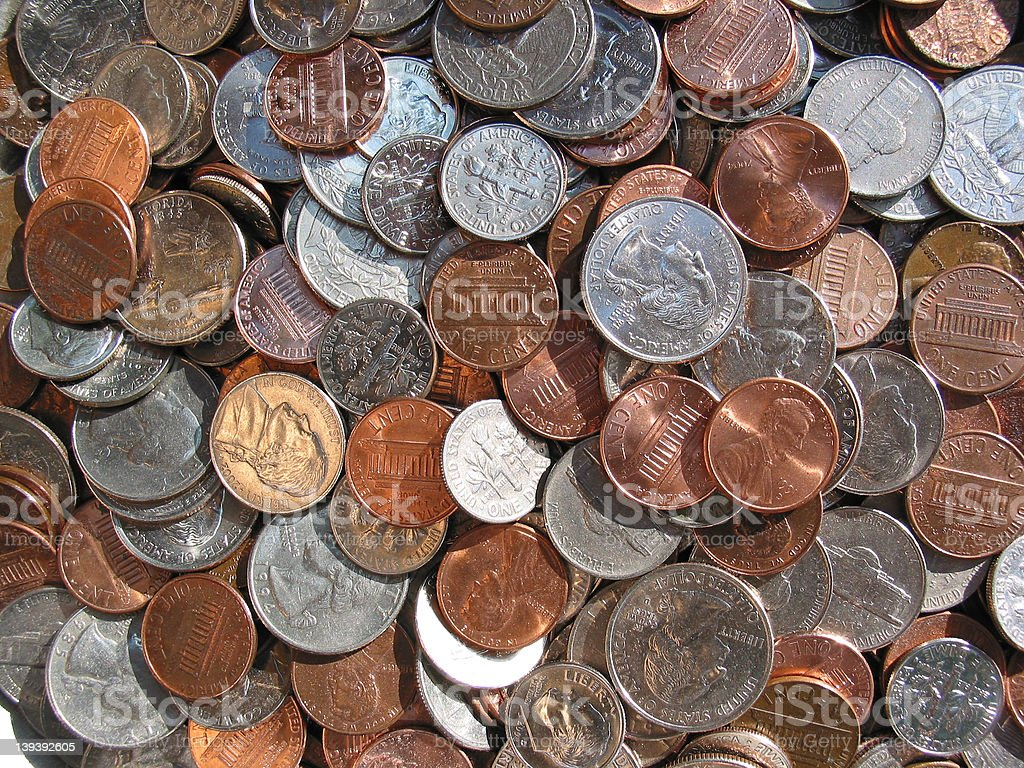 U.S. Coins - Pennies to Quarters stock photo