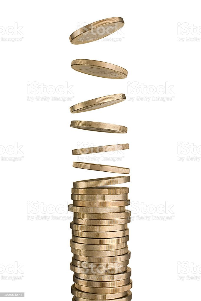 Coins Coins. Photo with clipping path.  Abundance Stock Photo
