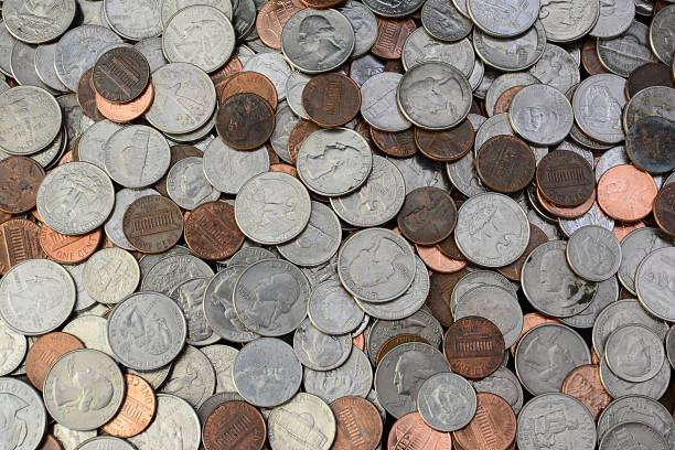 Coins Dimes,Quarters,Pennies,Nickels nickel stock pictures, royalty-free photos & images
