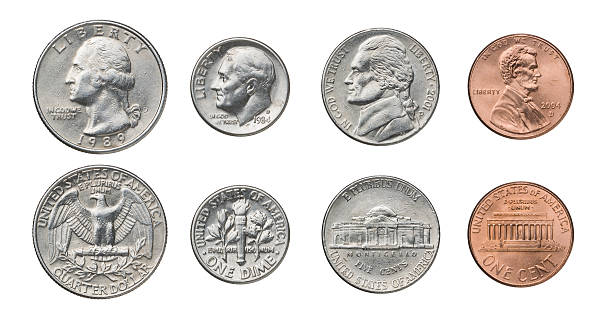 us coins - nickel stock photos and pictures
