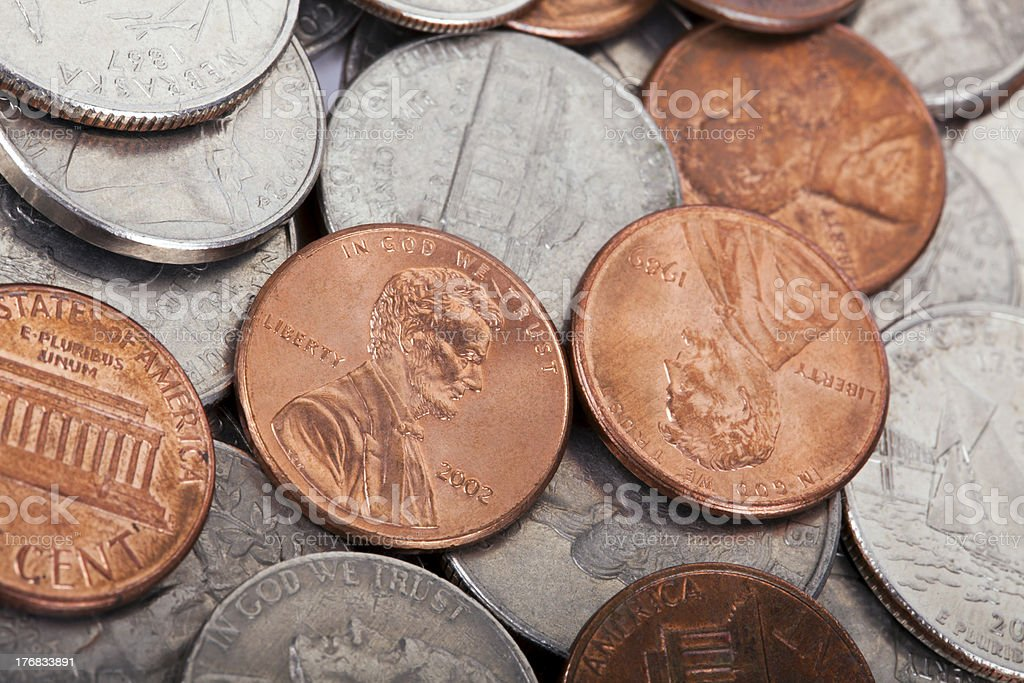 USA Coins Pile Background royalty-free stock photo