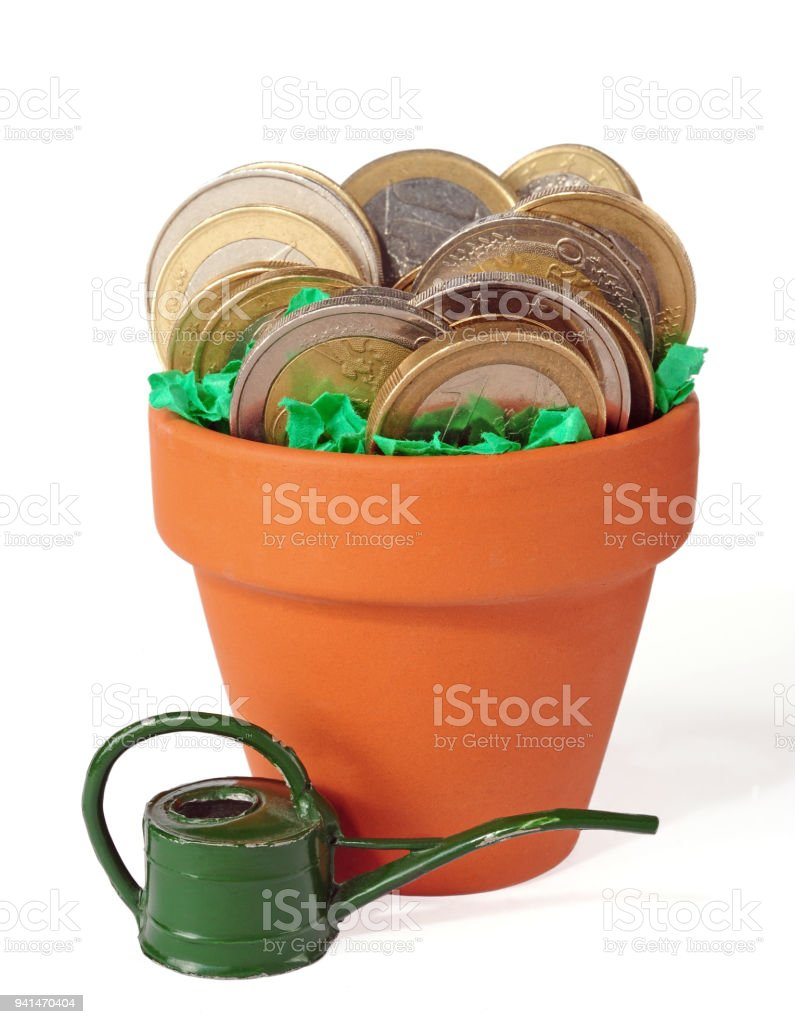 coins potted in clay pot stock photo