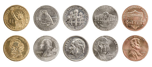US coins set US coins collection obverse and reverse isolated on white dime stock pictures, royalty-free photos & images