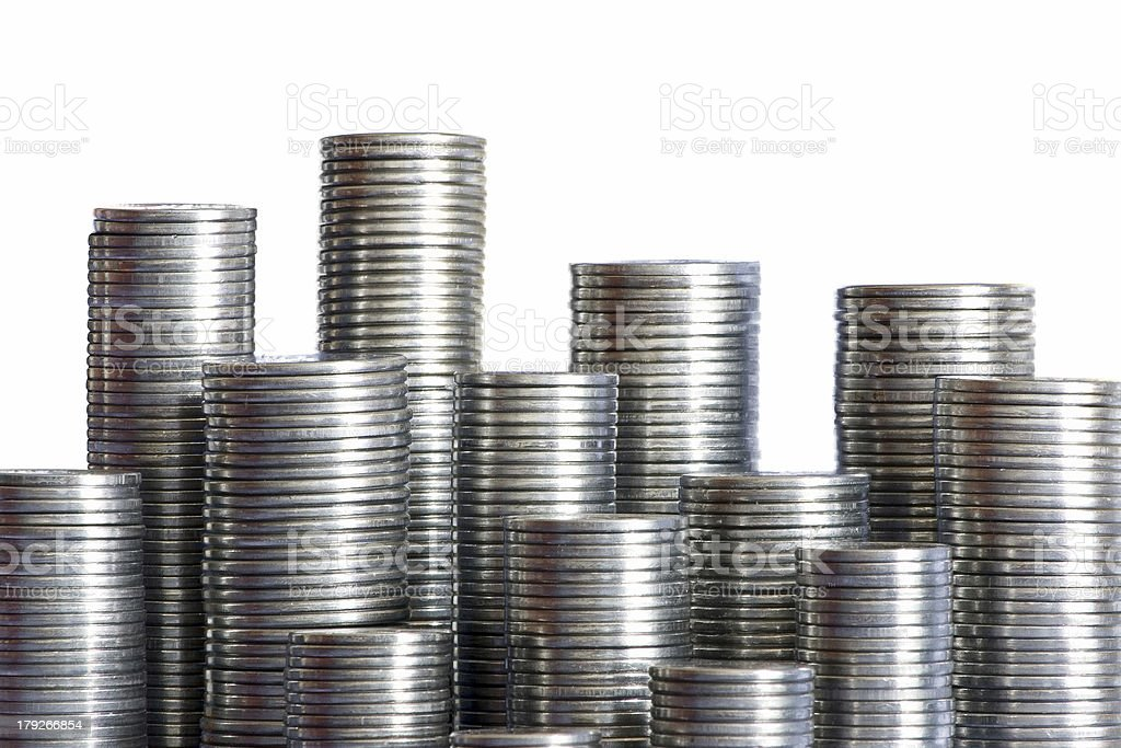 Coins skyscrapers royalty-free stock photo