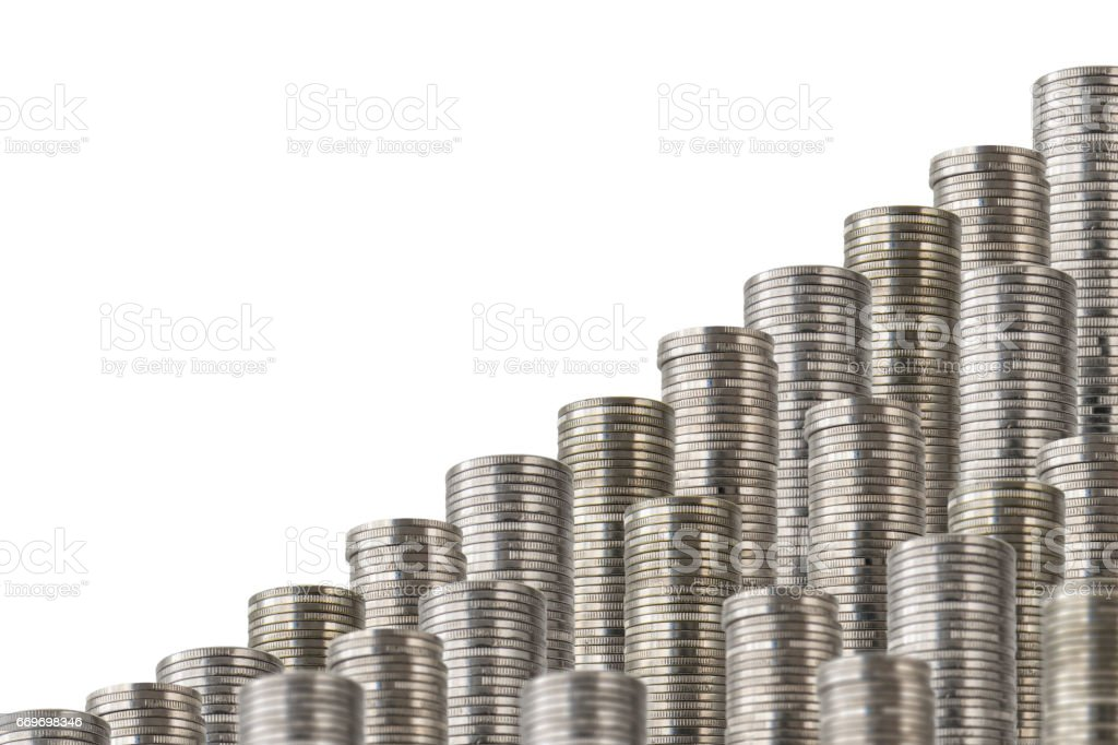 coins stack slanted isolated on white 2 stock photo