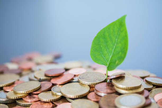 coins stacked on each other, green leaf growing. close up picture, money concept - dept stock pictures, royalty-free photos & images