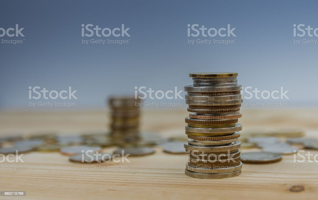 coins stacked on each other in different positions 免版稅 stock photo