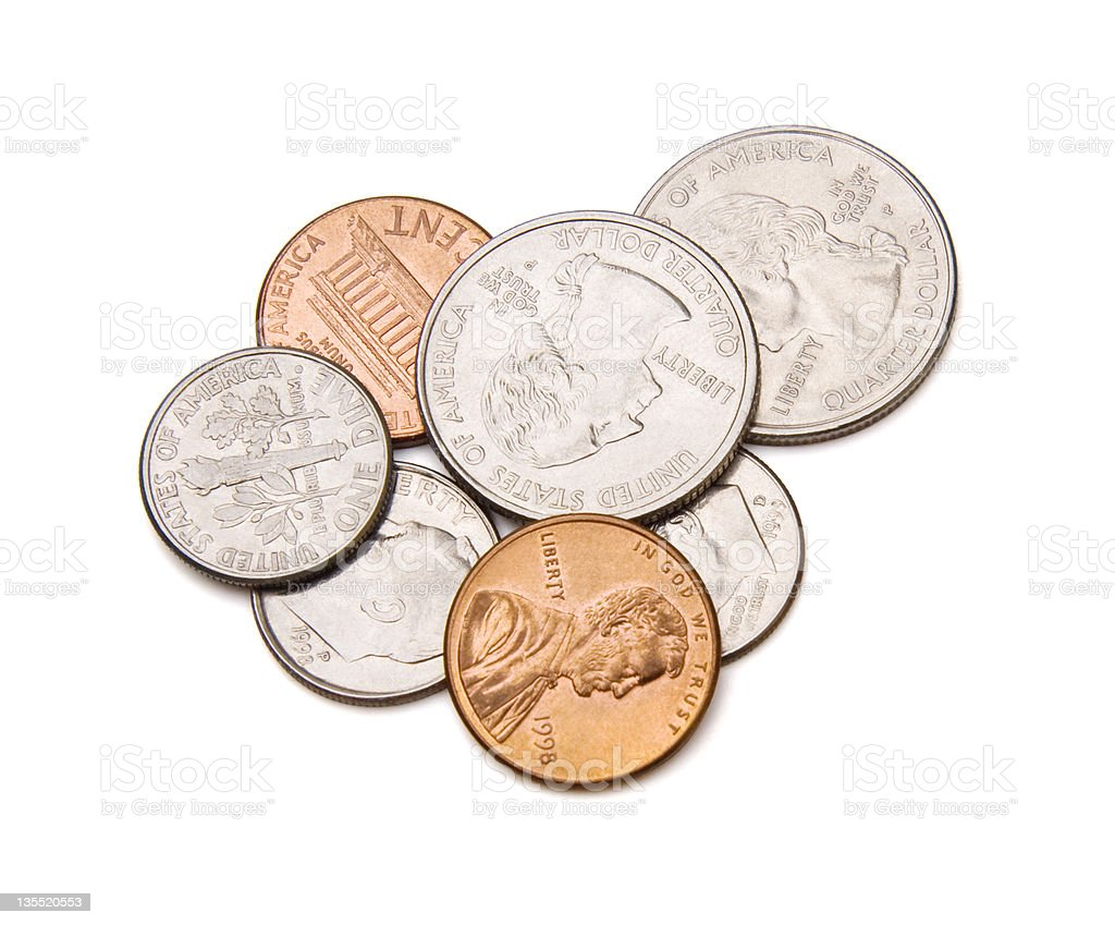 Coins with Clipping Path stock photo