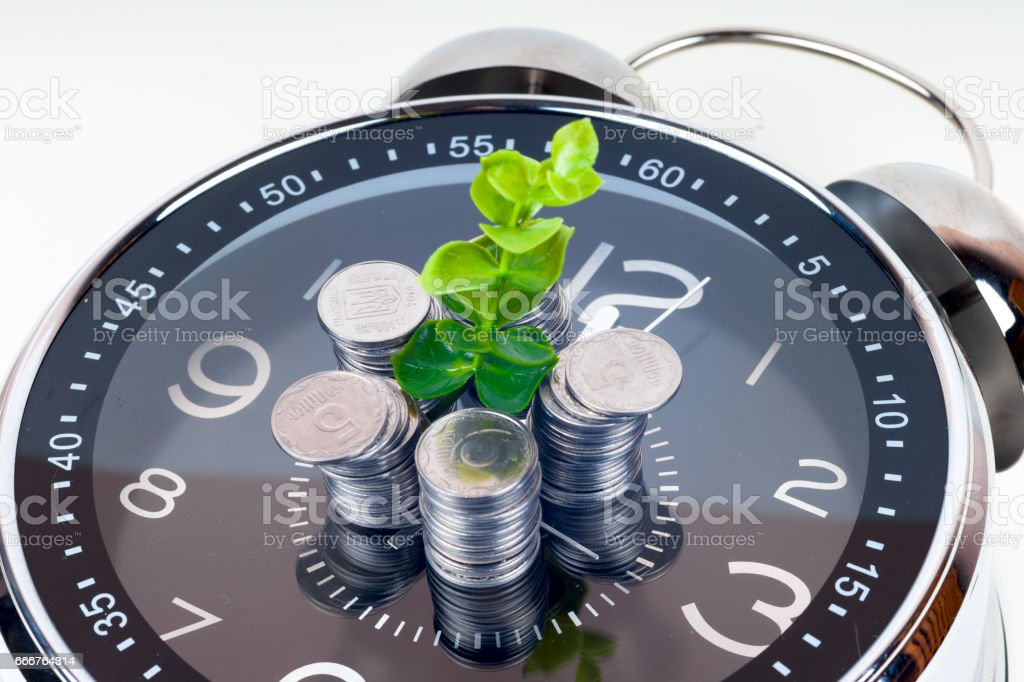 coins with plant and clock, isolated on white background. foto stock royalty-free