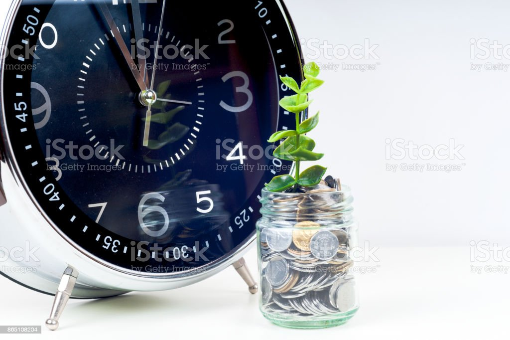 coins with plant and clock, isolated on white background. savings concept stock photo