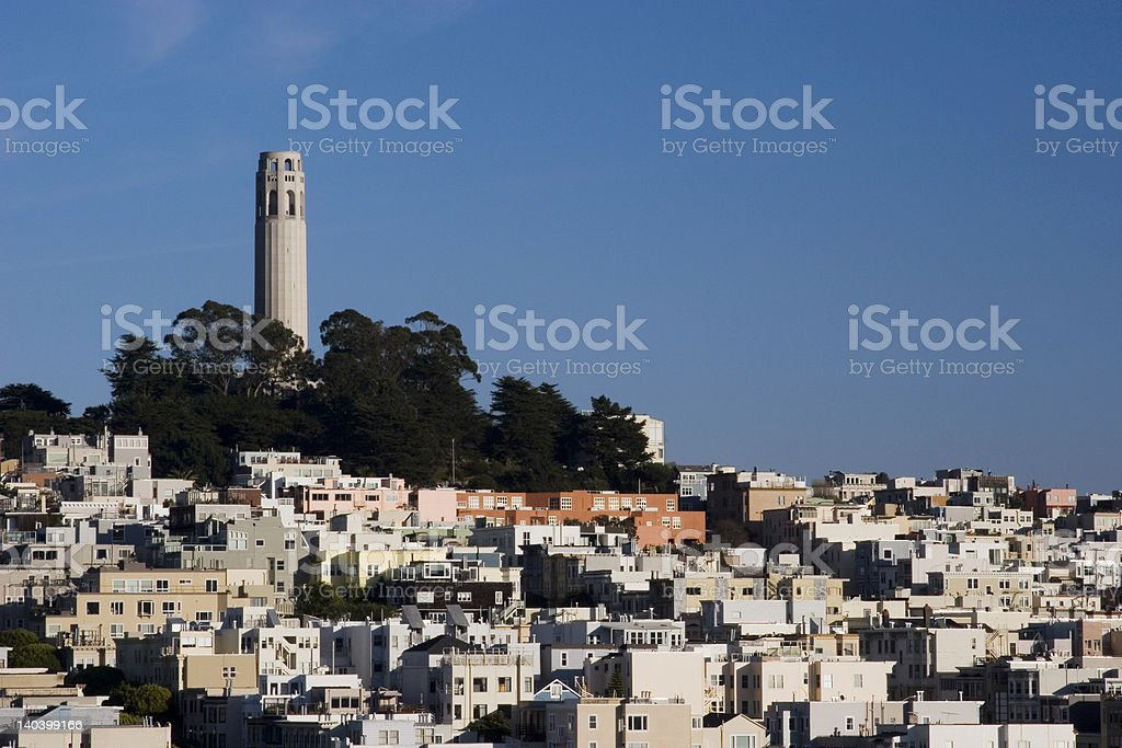 Coit Tower and Telegraph Hill, San Francisco royalty-free stock photo