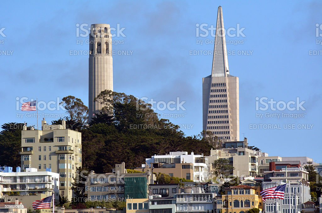 Coit Tower and Transamerica Pyramid, San Francisco stock photo