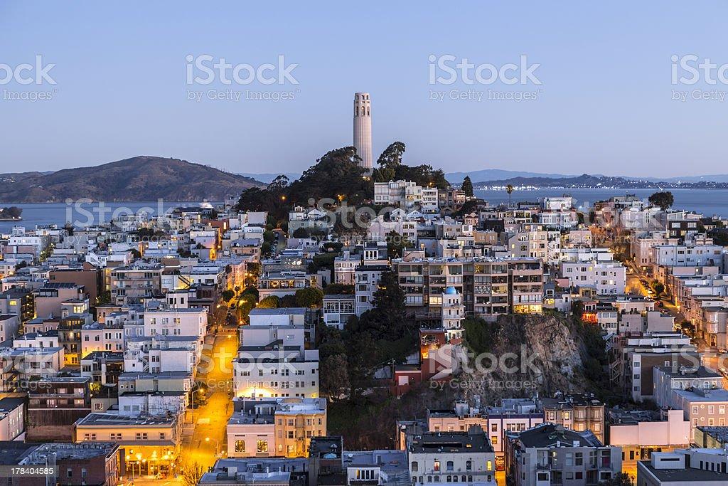 Coit Tower Dusk San Francisco stock photo