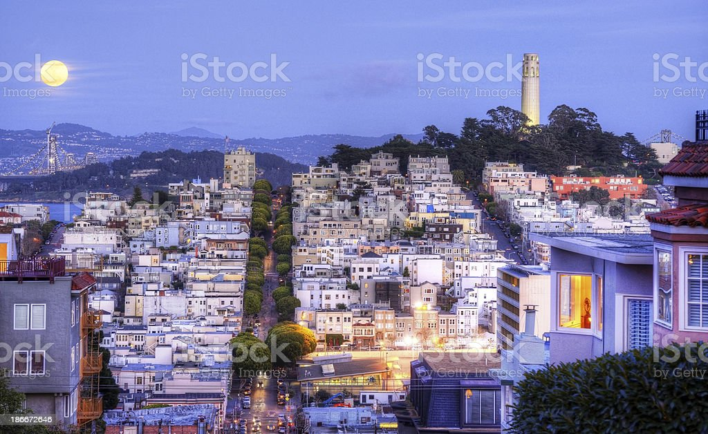 Coit Tower in full moon night stock photo