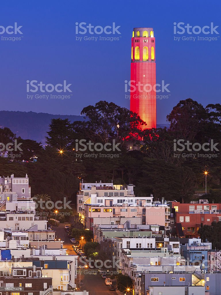 Coit Tower in Red and Gold stock photo