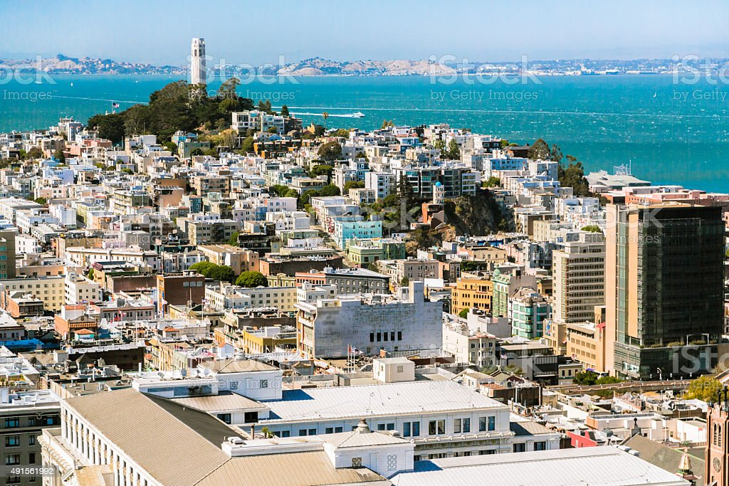 Coit Tower in San Francisco stock photo