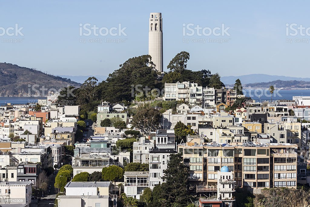 Coit Tower Park San Francisco stock photo