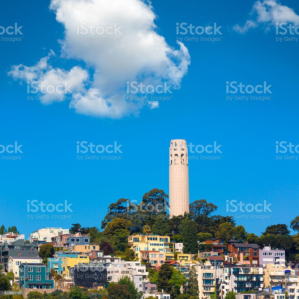Coit Tower San Francisco California stock photo