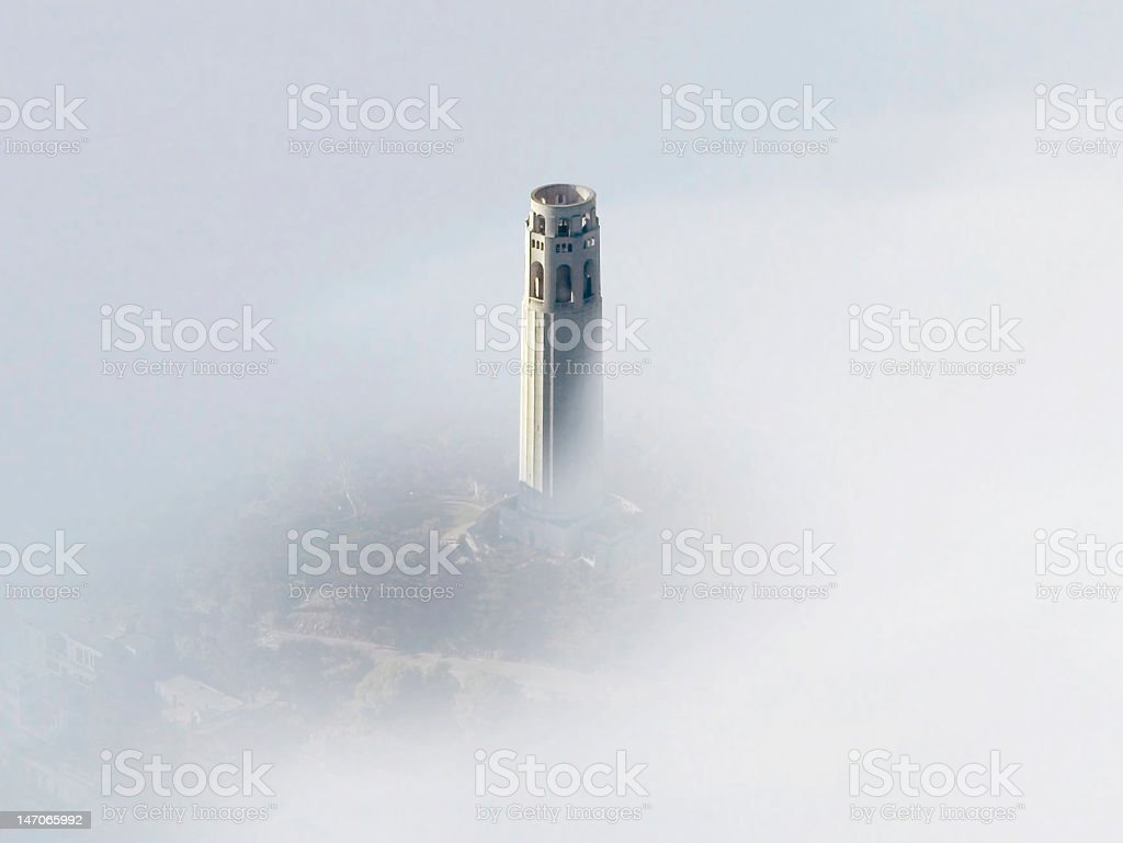 Coit Tower San Francisco in the Fog stock photo