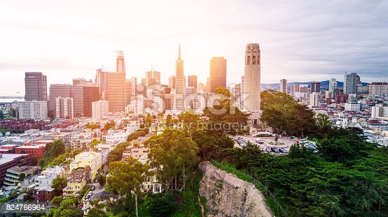 San Francisco Skyline with Coit Tower, aerial view.