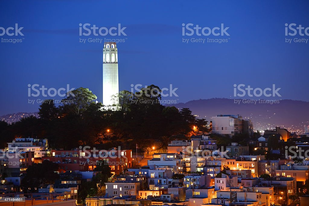 Coit Tower, Telegraph Hill stock photo