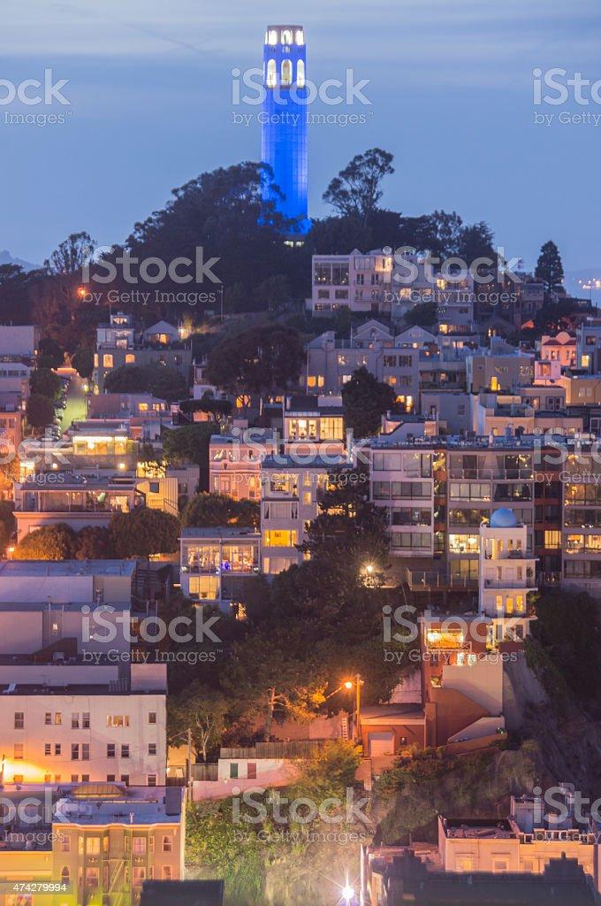 Coit Tower, Telegraph Hill, San Francisco stock photo