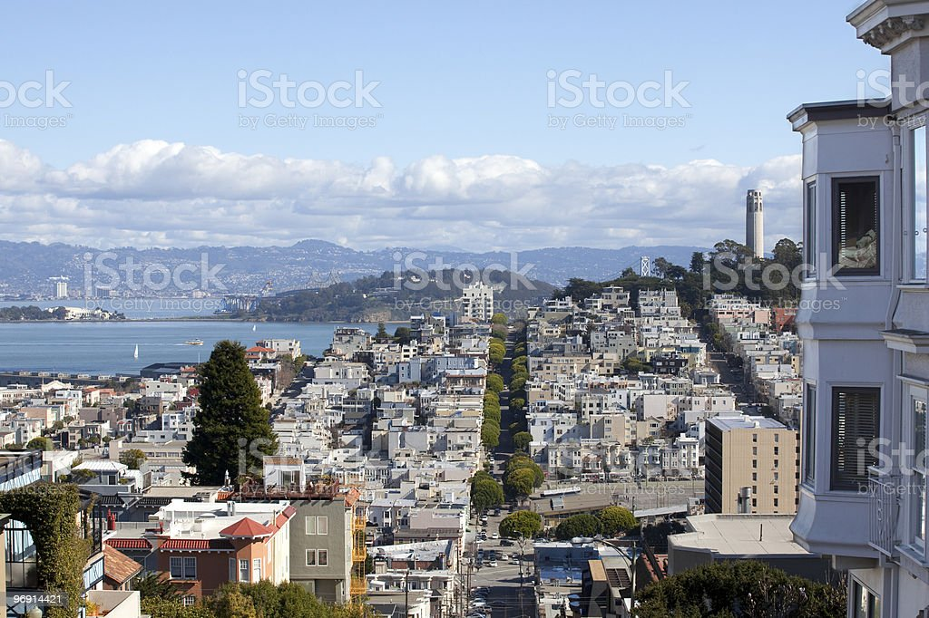 Coit Tower with House royalty-free stock photo