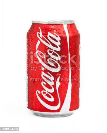 Istanbul, Turkey - March 25, 2011: A can of Coca Cola isolated on white background.
