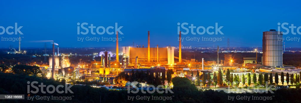 Coking Plant Panorama At Night stock photo