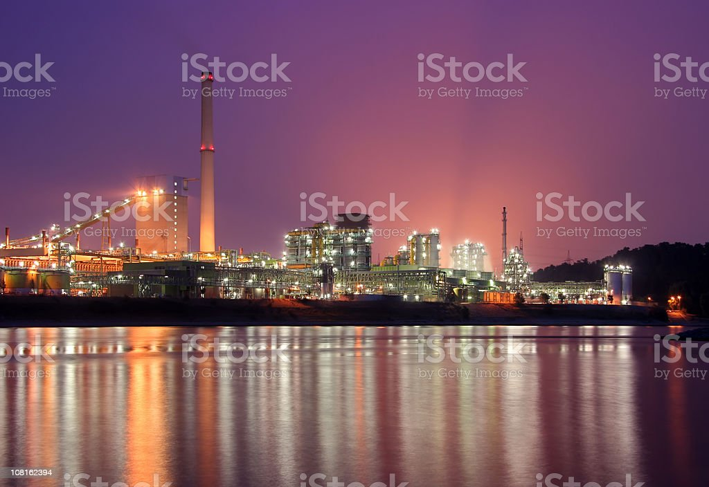 Coking plant with pink sky stock photo