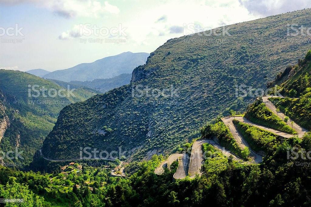 Col de Braus (French Alps): winding road stock photo