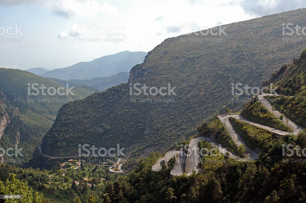 Col de Braus (Alpes-Maritimes, Provence-Alpes-Cote d'Azur, France): winding road royalty-free stock photo