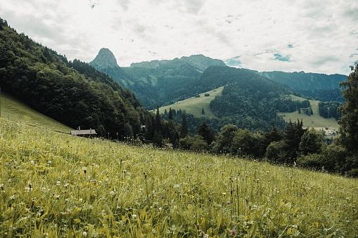 Col de Jaman from Les Avants village in Switzerland
