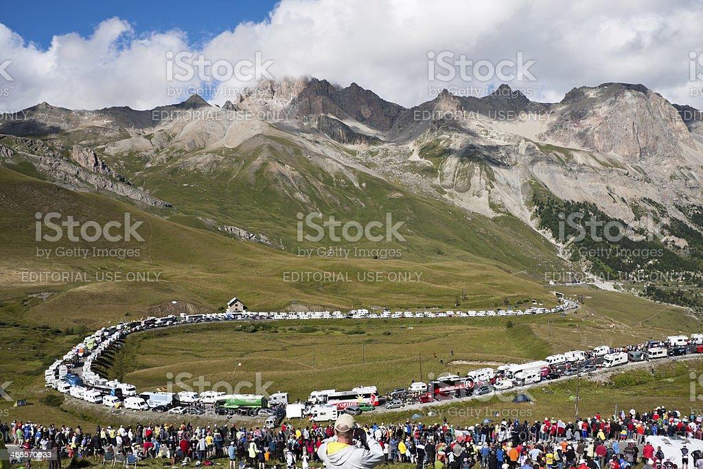 Col du Galibier during the 2011 Tour de France Stage stock photo
