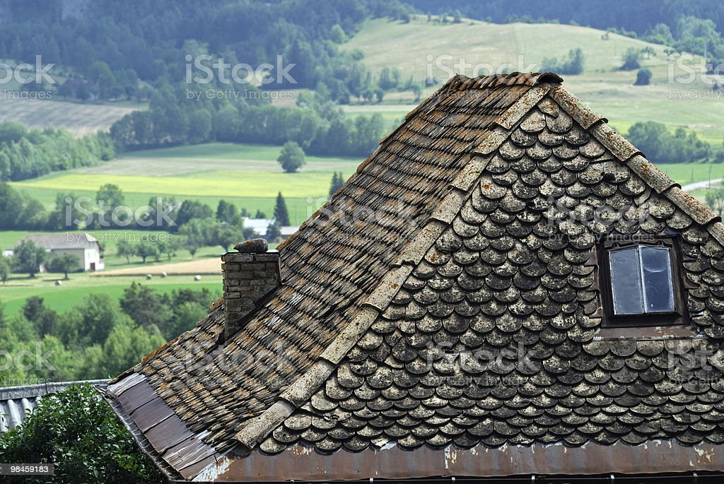 Col du Labouret (French Alps): Tiled roof of typical house royalty-free stock photo