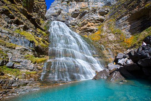 Cola de Caballo waterfall at Ordesa Valley Pyrenees Spain