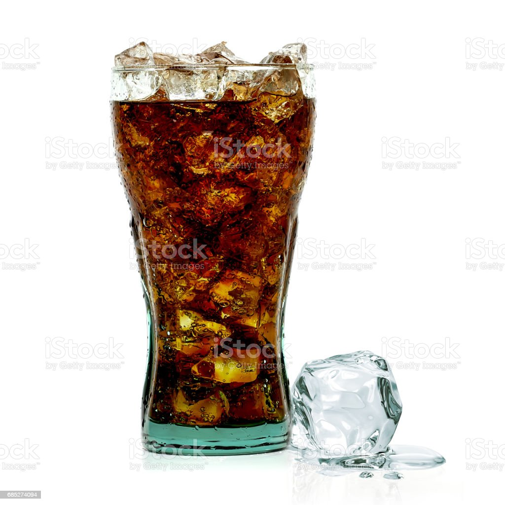 Cola in glass with ice royalty-free stock photo