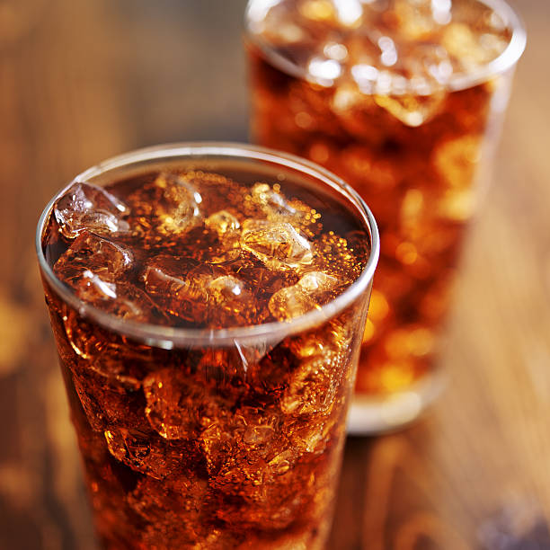 cola soft drinks with ice stock photo