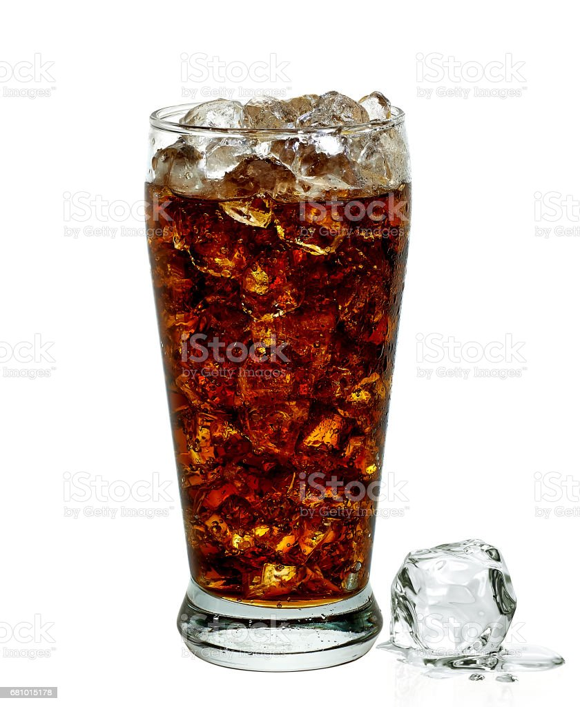 Cola with crushed ice and straw in tall glass royalty-free stock photo