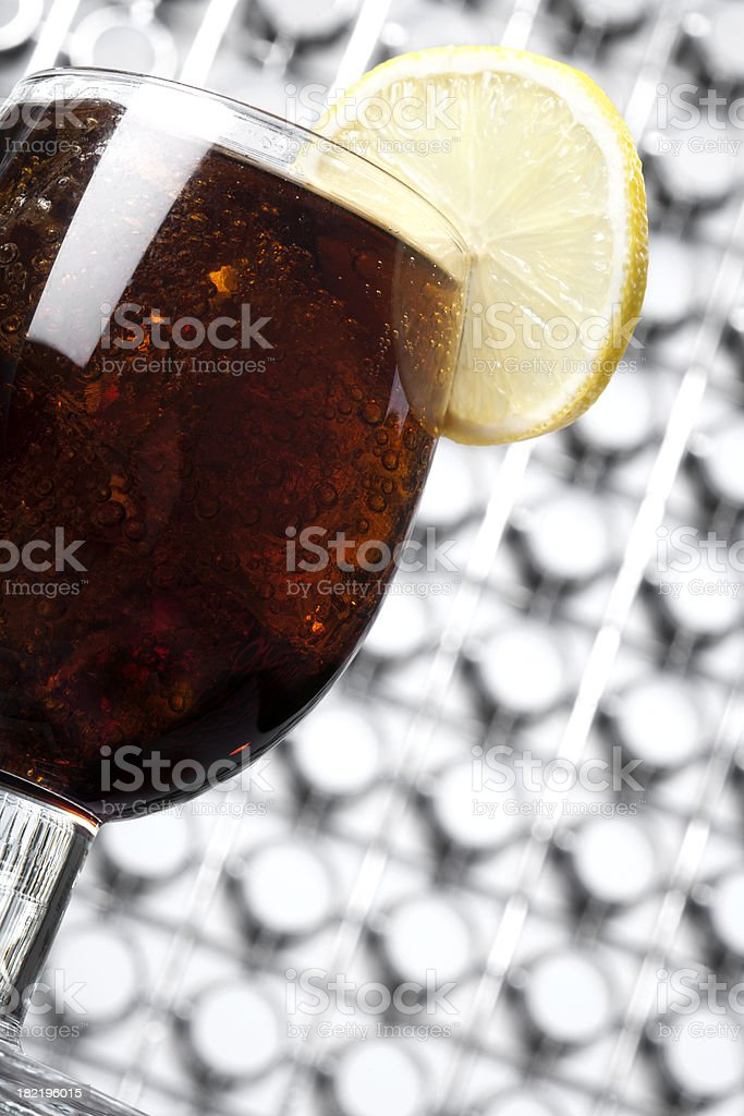 Cola with ice and lemon stock photo