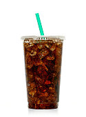 istock Cola with ice and straw in takeaway cup 681015252
